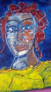 Bild von Louise Lounghard Frau mit roten Locken gelbem Shirt in Blau